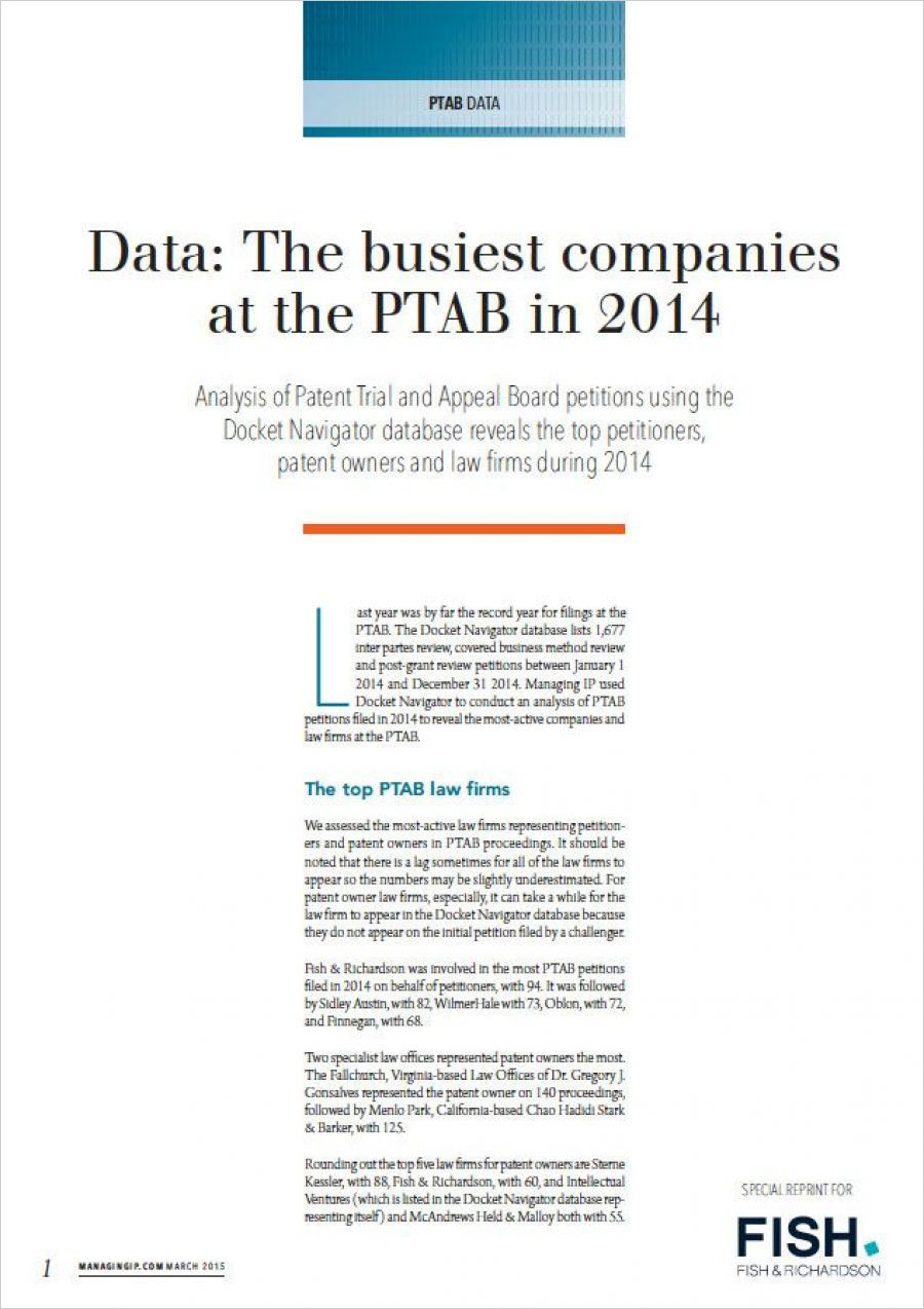 Busiest Firms at the PTAB 2014